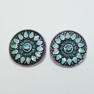 Silver tone blue enamel rhinestone Earrings
